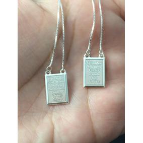 Escapulario De Prata Italiana 925 80 Cm Medalha 10x14 Mm
