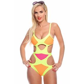 Bikinis Traje Baño Dama Monokini Amarillo Talla Chica S 32