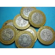 Una Moneda Bimetalica Usada 10 Nuevos Pesos Plata Ley 0.925