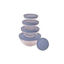 Conjunto De Potes Em Vidro 5 Peças Com Tampa Azul - Euro Hom