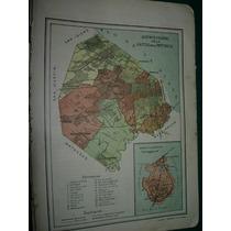 Mapa Antiguo Litografia Color Argentina Capital Federal