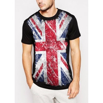 Camisa Inglaterra Bandeira Masculina Personalizada Preta Pv