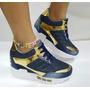 Zapato Teni Azul Jean Dorado Moda Dama Mujer Fabrica Calzado