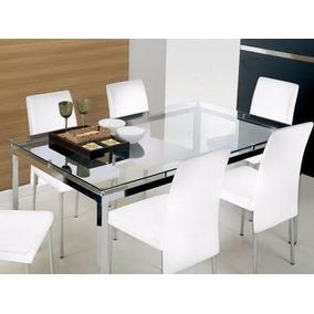 Mesa De Jantar - Aço Inox - Vidro Temperado - 6 Lugares