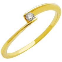 Anel Em Ouro 18k Solitário Diamante 5 Pontos - Sol5