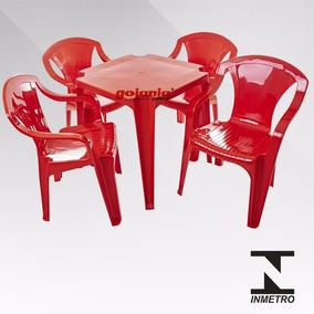 8 Jogos De Mesas C/32 Cadeiras Vermelha De Plástico Empilhá.