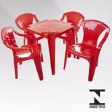 5 Jogos De Mesas C/20 Cadeiras Sup182kg Vermelha De Plás Emp