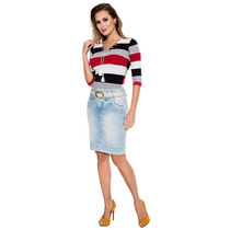 Saia Zíper Frontal Via Tolentino Exclusivo Jeans Sem Juros