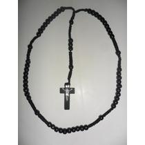 Rosario Negro / Collar / Cuentas Y Cruz De Madera / Tejido