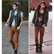 Calça Masculina Jeans Sarja Slim Fit Skinny Colorida.