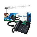 Kit Celular Rural Aquario Ca 802 Dual Chip Antena 17 Dbi