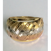 Ngold Anel Chapa Embutido Tricolor 3 Cores Ouro 18k 750