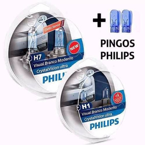 Kit Lampada Super Branca H7+h1 Philips Cristal Vision