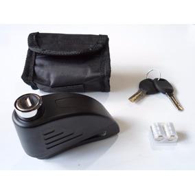 Trava Disco Moto Anti Furto Com Alarme + Bolsa Preto Fosco
