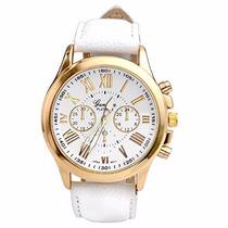 Relógio Feminino Em Couro Geneva Luxo Quartz Barato Promoção