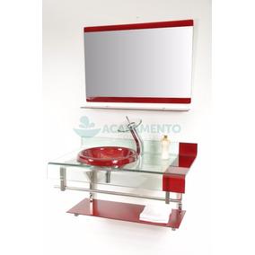 Gabinete De Vidro Banheiro 90 Cm Vermelho Vinho