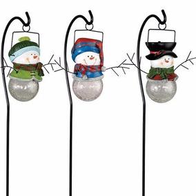 3 Muñecos De Nieve Solares Con Estaca Y Luz Led , Navidad