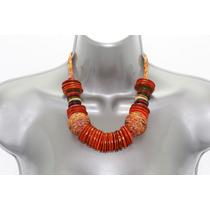 Collar Moda Naranja Aros Madera Y Tejido En Forma Esfera