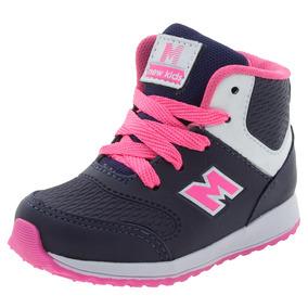 Tênis Infantil Feminino Cano Alto Marinho/pink Minipé - Mp16