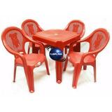 Jogo De Mesa +4 Cadeiras Poltrona Plastica Infantil Vermelha