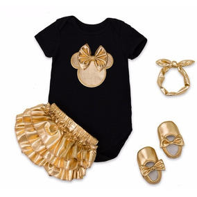 Fantasia Minnie Smash The Cake Conjunto Minnie Dourado Bebê