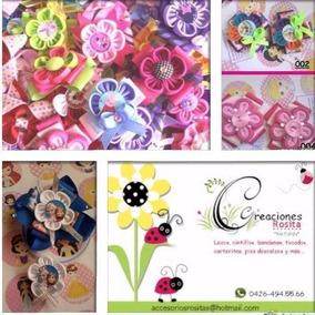 Lazos De Niñas Pares Con Flores, Cintas, Botones E Imagenes
