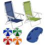 Kit 2 Cadeira Praia Camping Aço + 1 Guarda Sol + Mesinha Mor