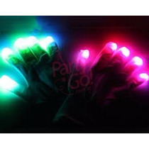 Guantes Led Cotillon Luminoso. Color Blanco O Negro.