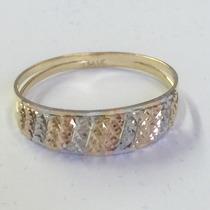 Ngold Anel Tricolor 3 Cores 13 Tiras Diamantado Ouro 18k 750