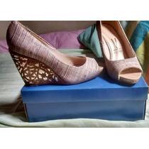Sapato C/ Salto Anabela Peep Toe Usado Apenas 2 Vezes Nº 37