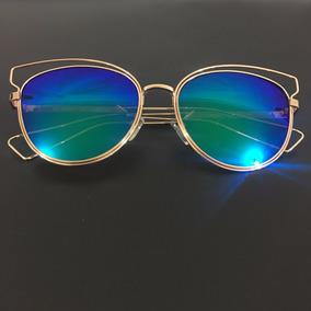 Óculos Sol Espelhado Feminino Gatinho Sideral Redondo Metal