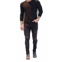 Calça Masculina Jeans Sarja Skinny Preta Rasgada Mod5