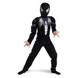 Disfraz Niño Negro Adecuado Muscular Del Hombre Araña - Tam