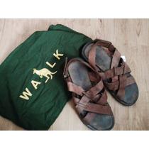Sandália Em Couro Trançado Side Walk