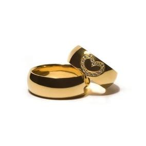 Par De Alianças Ouro 18k 750 8mm 20 Gramas Coração W185