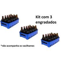 Kit 3 Engradado Grade Caixa 15 Vasilhame Cerveja 300 Ml Azul
