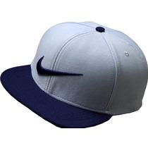Bone Nike Azul Escuro Com Cinza Claro Aba Reta