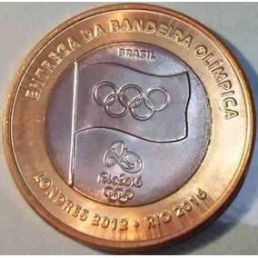 Moeda Comemorativa Entrega Da Bandeira Olimpica (circulada)