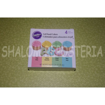 *kit 4 Colorantes Gel Colores Pastel Wilton Cupcake Fondant*