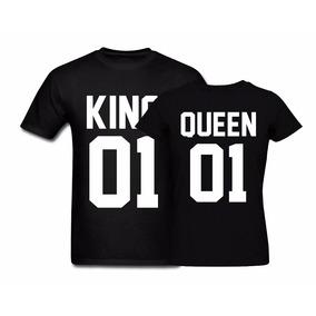 Kit 2 Camisetas Tshirt Casal Coroa King Queen Rei Rainha