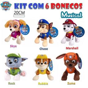Patrulha Canina Kit 6 Bonecos De Pelúcia Brinquedo Musical