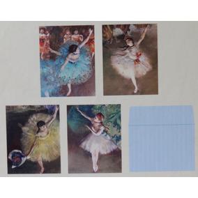 4 Cartão C/ Envelope Arte Edgar Degas Bailarinas Origem Eua