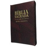 Bíblia Letra Gigante - Capa Com Zíper Vinho Costura