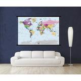Mapamundi Planisferio Tela Canva140x90cm Mas Muestras Gratis