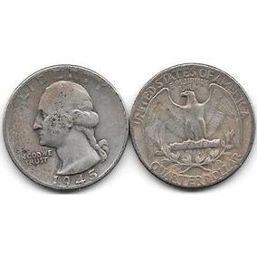 Moneda De Estados Unidos 25 Centavos Dolar Plata Año 1945