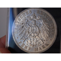 Saxônia - Alemanha - 5 Mark - 1914 E - Prata