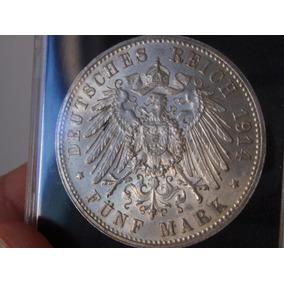 Saxônia - Alemanha - 5 Mark - 1914 E - Prata Epr00221