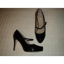 Zapatos Gacel De Cuero Charol Y Terraplén N 38. Negros.