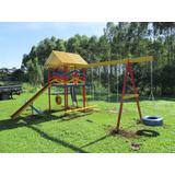 Playground Em Madeira C/ 15 Brinquedos