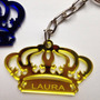 50 Chaveiros Coroa Personalizado Em Acrílico Dourado